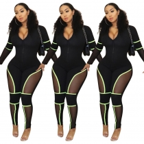 Newest Female Mesh Patchwork Bodycon Sport Jumpsuit ED8120