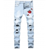 Mens embroidered roses Niu Dongzi broken light blue pants Slim feet stretch jeans TX1823
