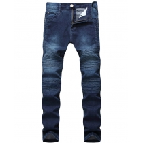 Locomotive personality folds Slim pants high elastic jeans TX693-1