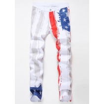 White printed American flag casual jeans TX8901