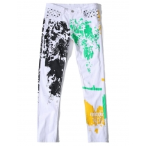 White Printed Jeans High-stretch cotton white casual trousers TXz001