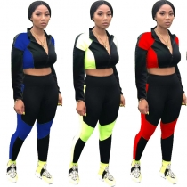 Zipper Crop Top Pencil Pants Colors Patchwork Sports Suits R6234