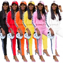 Leisure 6 Colors Lady Webbing Patchwork Hooded Track Suits WY6606