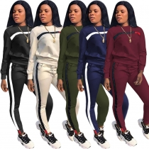 Simple and stylish casual stitching sports suit SN040
