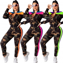 Winter Autumn Colors Patchwork Sports Camouflage Slim Outfits CM609