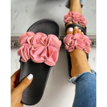 One word big flower craft sandals casual beach shoes QF289-6