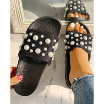 Craft sandals with pearl lace sandals QF661