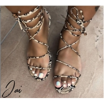 Snake-patterned strap sandals BY9056