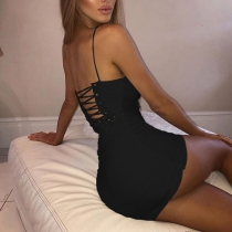 Sling openwork sexy strapless backless slim dress D1734844