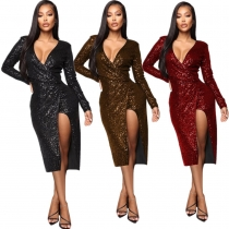 Glitter Club Sequins Sexy V Collar Split Dress With Linning YMT6114
