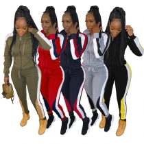 Sport Lady Hooded Sets Plus Size Colors Patchwork Leisurewear BLX7340