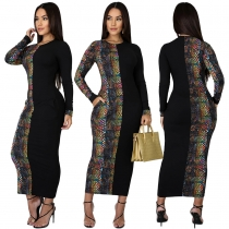 Club Ladies Colorful Snake Print Splicing Long Dress With Pockets GL6217