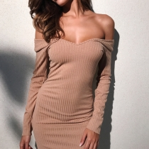 Deep V-neck wrapped chest quality pit long-sleeved slim hip dress D2896Z