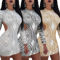 Sexy Female Bodycon Sequined Backless Long Sleeve Party Dress Q047