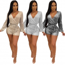 Glitter Fashion Ladies V Neck Sequined Short Jumpsuit With Belt Q379