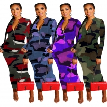 Reasonable Price Zipper Mid Waist Camouflage Ankle Length Dress JH130