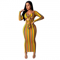 Hollow Out Stripe Colorful Long Sleeve Ankle Length Dress SDD9021