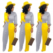 Women Street Style Contrast Color Leisure Belted Jumpsuit ED8143