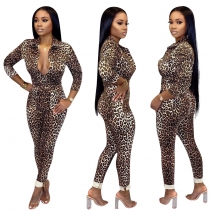 Leopard Print Women Polyester Button Down Bodycon Jumpsuit ED8145