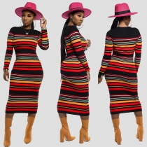 Winter Striped Bodycon Long Sleeves Anke Fashion Dress SDD9187