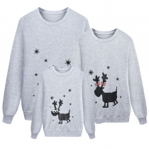 Long Sleeved Gray Hoodie Deer Printing Parent-Child Clothes AYY2132