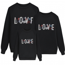 Stylish Black Family Leisure Wear Letters Printing Hoodie AYY2136