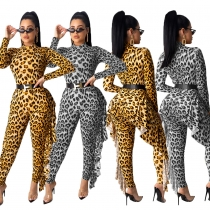 Online Sale Tight Leopard Printing Ruffle Women Jumpsuit CM636