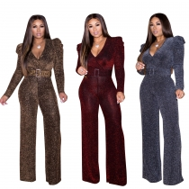 Newest Stretchy Solid Color Shiny V Collar Casual Jumpsuit CM637