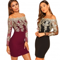 Bodycon Long Sleeve Embroidered Lace Patchwork Strapless Dress JLX8922