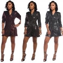 Eye-Catching Solid Sequin One Button Slim Bodycon Long Coat TRS989