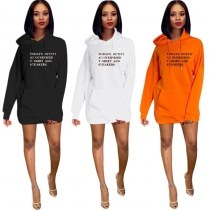 Wholesale Price 3 Colors Ladies Casual Letters Hoodie Dress YMT6120