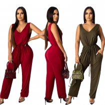 Wholesale Price Women Elastic Waist Pure Color Sleeveless Jumpsuits CY1203