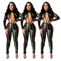 Multicolor Ladies Irregular Sequin Hollow Out Sexy Jumpsuit ED8156