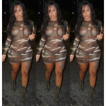 Female Bodycon Sexy See Through Camouflage Mini Dress H1253