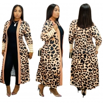 Autumn Winter Long Style Leopard Printing Cardigan Coat JH133