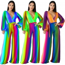 Young Girls Autumn Multicolor V Neck Wide Leg Jumpsuit MDF5104