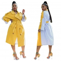 Women's Striped Patchwork Blazer Collar Tied Long Trench Coat MN8078