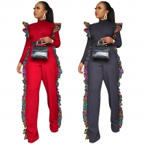 Online Sale Red/Black Ruffle Long Sleeve Straight Jumpsuit QQM3894