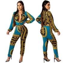 Colorful Print Button Down Casual Fashion Women Jumpsuits SMR9485