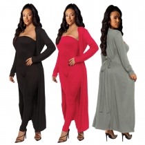 Stylish Winter Sets Off Shoulder Bodycon Jumpsuit Bandage Long Coat CY7144
