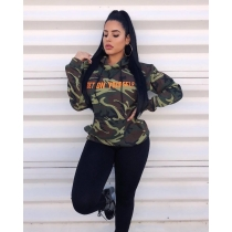 Wholesale Camouflage Leisure Long Sleeved Letters Hoodie SMD7027