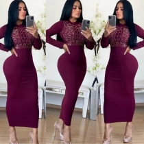 Online Sale Purple/Black Slim Fitting Beading Maxi Dress HH8901