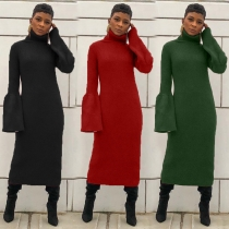 Turtleneck Sweater Pure Color Flares Sleeves Pencil Dress HHM6181