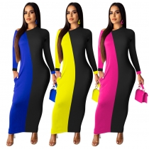 Long Sleeved Casual Wear Contrast Color Ankle Length Dress QQM3845