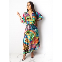Fashionable Colorful Printing Single-Breasted Pleated Dress MFT145