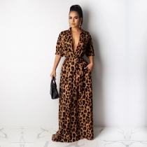 New Arrival Leopard Print Women Half Sleeved Floor Length Dress QQM3893