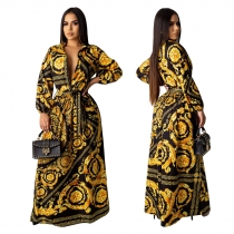 Euramerican Long Sleeved Leisurewear Printing Loose Maxi Dress YZ1976