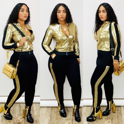 Street Style Female Two-Piece Plus Size Sequined Outfits QQ5148