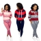 Contrast Color Striped Hoodie Pure Color Slinky Pants MTY6228
